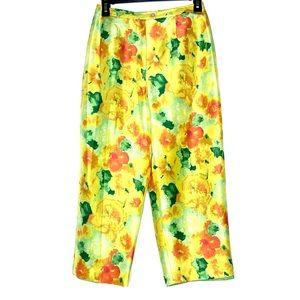 Vintage Silk Floral Wide Leg Crop Pants 4 Small